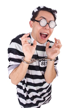 Funny convict isolated on the white Stock Photo - 21029834