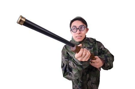 Funny soldier isolated on the white Stock Photo - 21029863