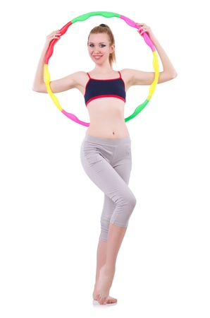 Woman doing exercises with hula hoop Stock Photo - 21110562