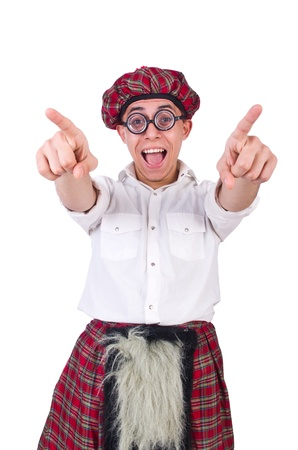 Funny scotsman isolated on the white Stock Photo - 21029225