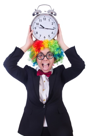 Funny clown with clock on white Stock Photo - 21029383