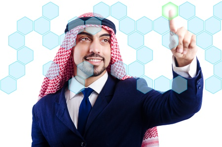 Arab man pressing virtual buttons Stock Photo - 21015544