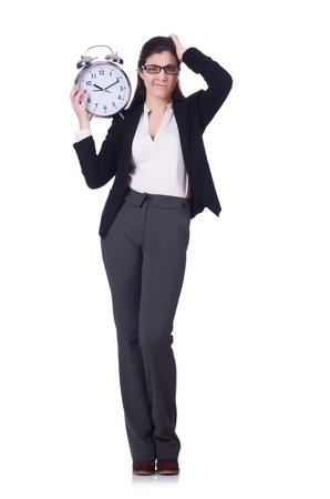 Woman with clock isolated on white Stock Photo - 21077082