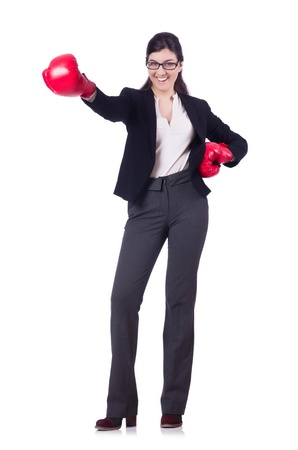 Businesswoman in boxing concept on white Stock Photo - 21077083