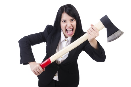 Angry businesswoman with axe on white Stock Photo - 21029399