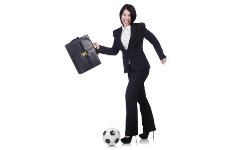 Businesswoman with ball on white Stock Photo - 21029401