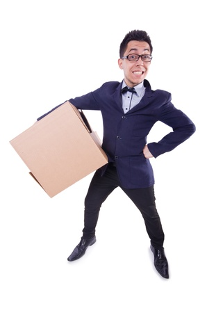 Funny man with box on white photo