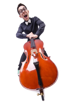 Funny man with violin on white Stock Photo - 21086252
