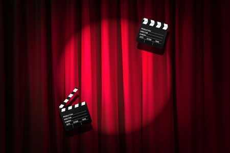 Movie clapper board against curtain photo