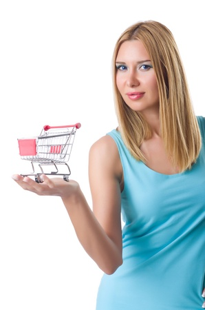 Woman with shopping cart isolated on white photo