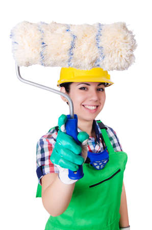 Woman painter with paintbrush on white Stock Photo - 21077094