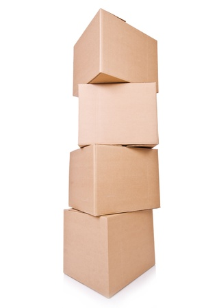 Carton boxes isolated on the white background Stock Photo - 20838800