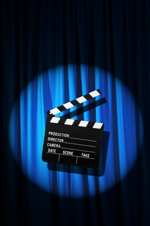 Movie clapper board against curtain Stock Photo - 20838809