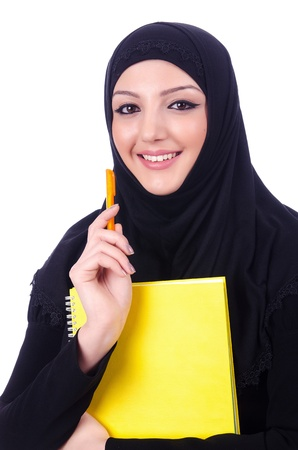 Young muslim woman with book on white Stock Photo - 21077109