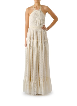 Woman in fashion dress concept on white Stock Photo - 20838831