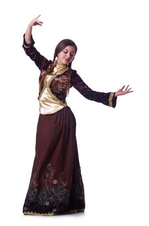 Young lady dancing traditional azeri dance Stock Photo - 21084360