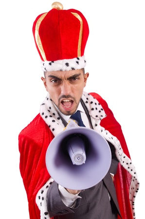 King businessman with loudspeaker isolated on white Stock Photo - 21029707