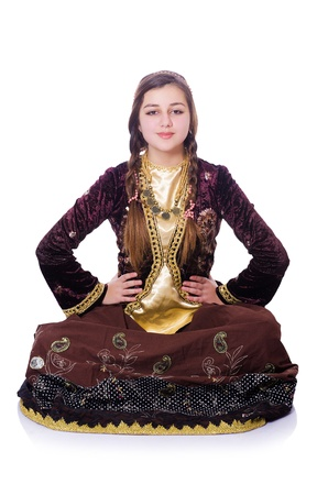 Young lady dancing traditional azeri dance Stock Photo - 21084361