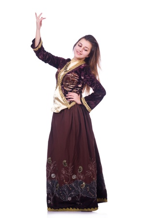 Young lady dancing traditional azeri dance Stock Photo - 21084362