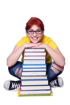 Girl student with books on white Stock Photo - 21077130