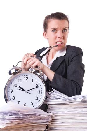 Woman businesswoman with giant alarm clock Stock Photo - 21029713