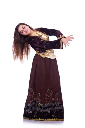 Young lady dancing traditional azeri dance Stock Photo - 21084368