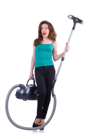 Young woman with vacuum cleaner on white Stock Photo - 21029741