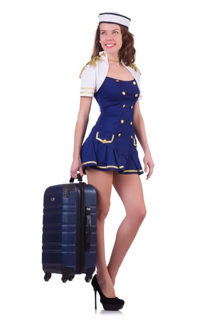 Woman travel attendant with suitcase on white Stock Photo - 21029746