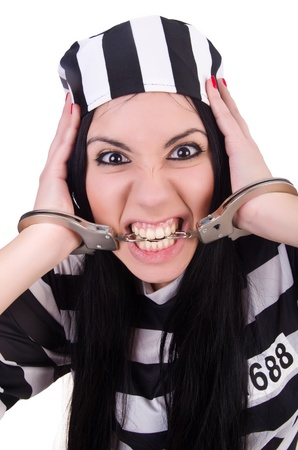 Prisoner in striped uniform on white Stock Photo - 21029747