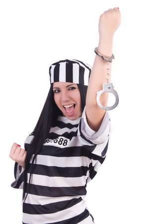 Prisoner in striped uniform on white Stock Photo - 21112332