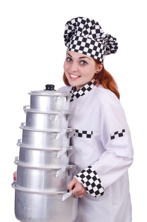 Cook with stack of pots on white Stock Photo - 21077344