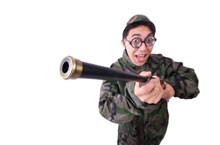 Funny soldier isolated on the white Stock Photo - 21112335
