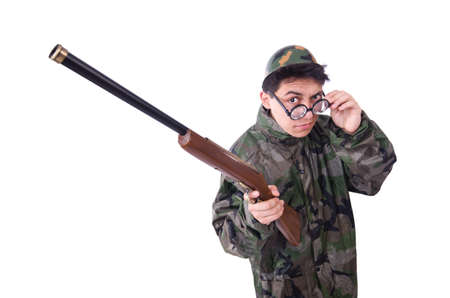 Funny soldier isolated on the white Stock Photo - 21112336