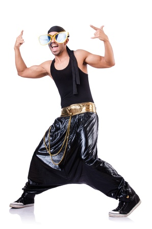 Rap dancer isolated on the white photo