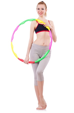Woman doing exercises with hoop Stock Photo - 21029833