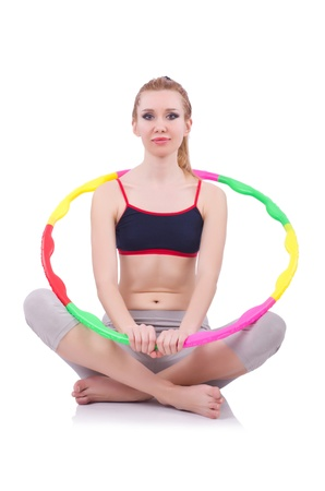 Woman doing exercises with hoop Stock Photo - 21029838