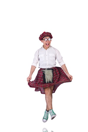 Funny scotsman isolated on the white photo