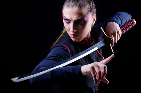 ninja ancient: Woman in japanese martial art concept