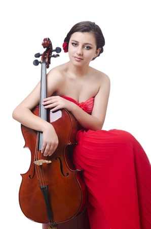virtuoso: Young girl with violin on white Stock Photo