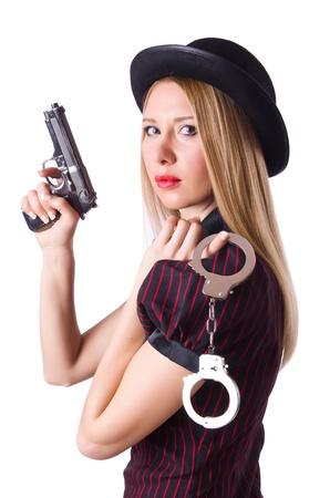 Woman gangster with gun and money photo