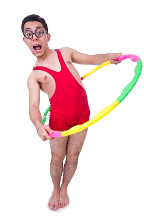 pankration: Funny sportsman with hula hoop on white Stock Photo