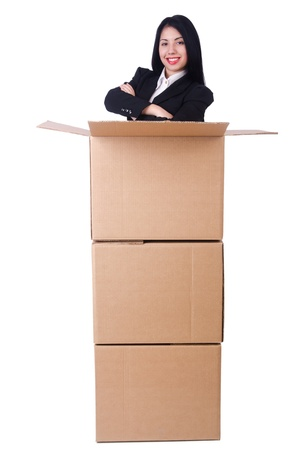 Woman with lots of boxes on white Stock Photo - 21326742