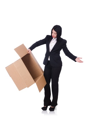 Woman with lots of boxes on white Stock Photo - 21326743