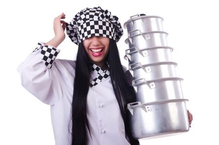 Cook with stack of pots on white Stock Photo - 21326892