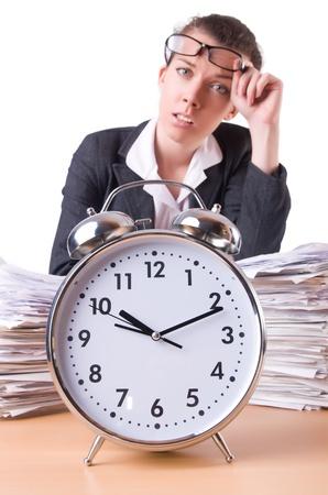 Woman businesswoman with giant alarm clock Stock Photo - 21326891