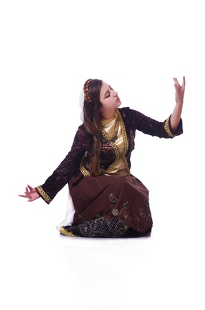 Young lady dancing traditional azeri dance Stock Photo - 21326299