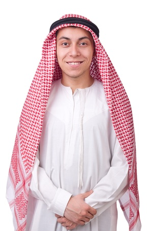 qameez: Young arab man isolated on white Stock Photo