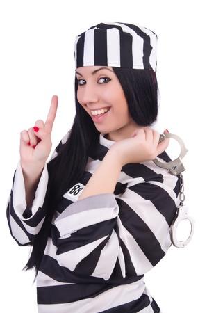 Prisoner in striped uniform on white photo
