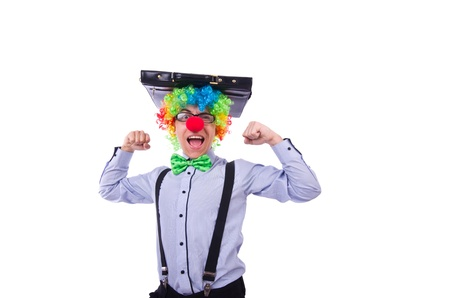 Clown businessman isolated on white Stock Photo - 21326260