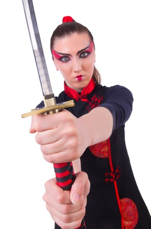 Woman in japanese martial art concept Stock Photo - 21308597
